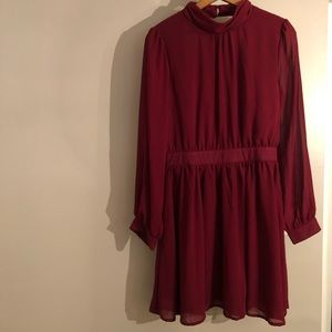 Moon for Modcloth long sleeved burgundy dress